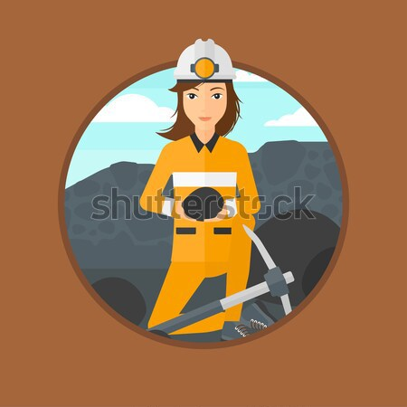 石炭 手 座って 鉱山 作業 ベクトル ストックフォト © RAStudio