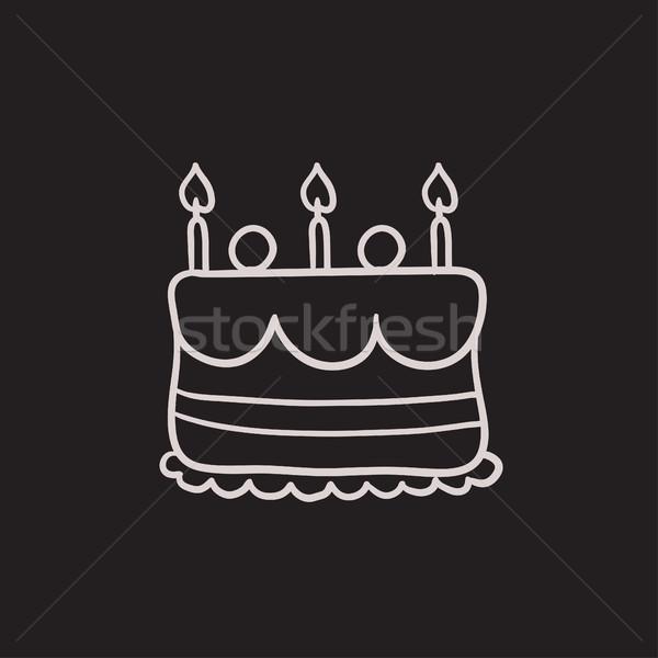 Birthday cake with candles sketch icon. Stock photo © RAStudio
