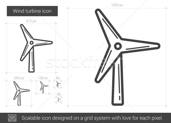 Rüzgar türbini hat ikon vektör yalıtılmış beyaz Stok fotoğraf © RAStudio