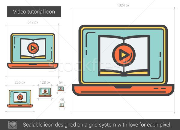 видео учебник линия икона вектора изолированный Сток-фото © RAStudio