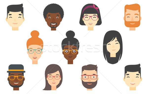 Set menschlichen Gesichter positive Emotionen Stock foto © RAStudio