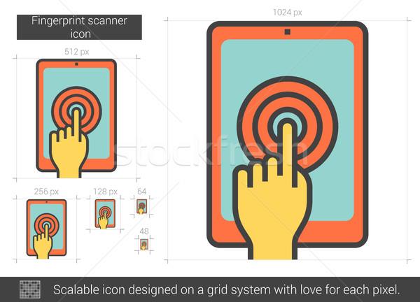Vingerafdruk scanner lijn icon vector geïsoleerd Stockfoto © RAStudio