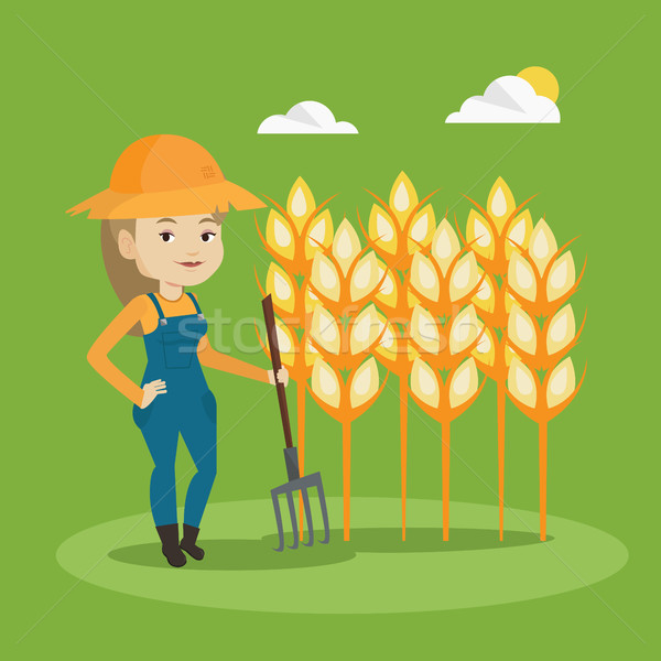 Farmer with pitchfork vector illustration. Stock photo © RAStudio
