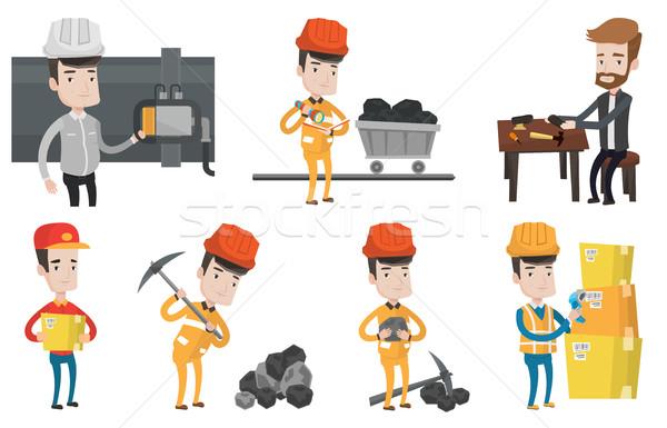 Vector establecer industrial trabajadores de trabajo Foto stock © RAStudio