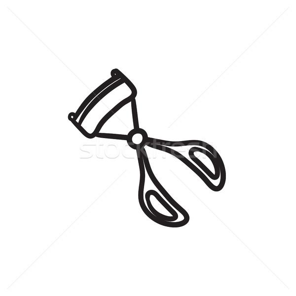Foto stock: De · pestañas · boceto · icono · vector · aislado · dibujado · a · mano