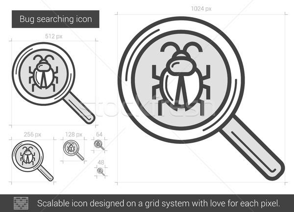 Bug ricerca line icona vettore isolato Foto d'archivio © RAStudio