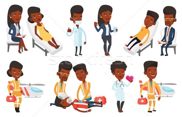 Vektör ayarlamak doktor Afrika hasta Stok fotoğraf © RAStudio