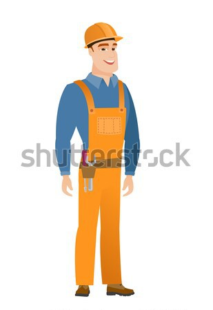 Young caucasian happy builder. Stock photo © RAStudio