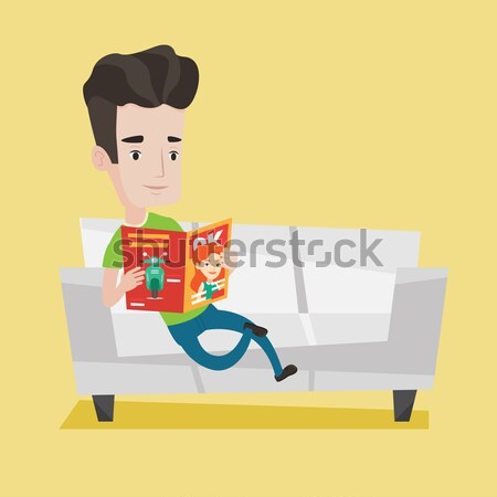 Stock photo: Man reading magazine on sofa vector illustration