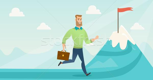 Businessman running to his business goal. Stock photo © RAStudio
