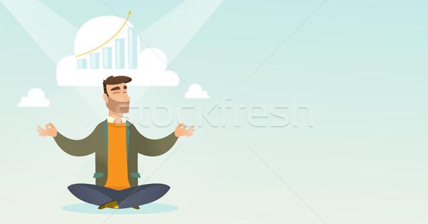 Stok fotoğraf: Huzurlu · iş · kadını · yoga · kafkas · işadamı · lotus