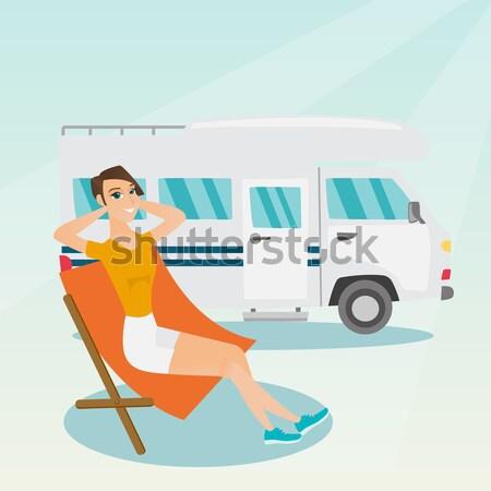 Nő ül szék lakókocsi furgon kaukázusi Stock fotó © RAStudio