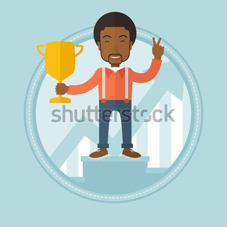 Człowiek biznesu trofeum złoty szczęśliwy Zdjęcia stock © RAStudio