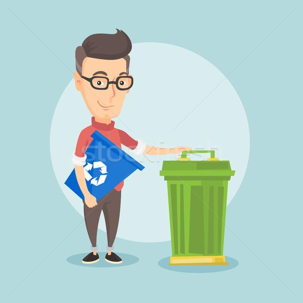 человека Recycle мусорное ведро молодые кавказский Сток-фото © RAStudio