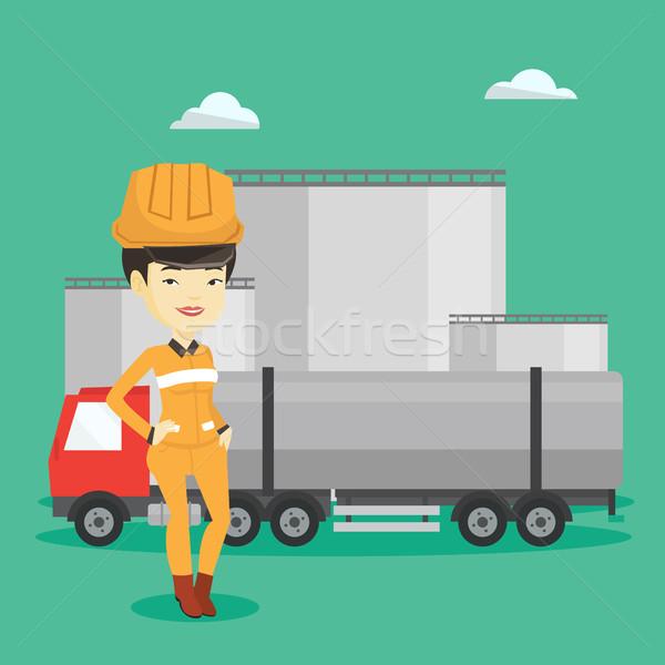 работник топлива грузовика нефть завода очистительный завод Сток-фото © RAStudio