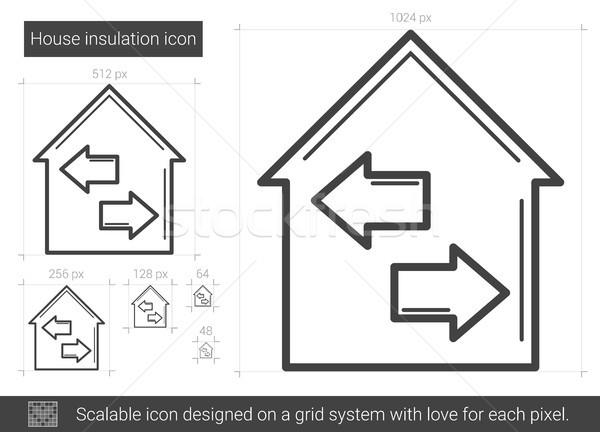 Ev yalıtım hat ikon vektör yalıtılmış Stok fotoğraf © RAStudio