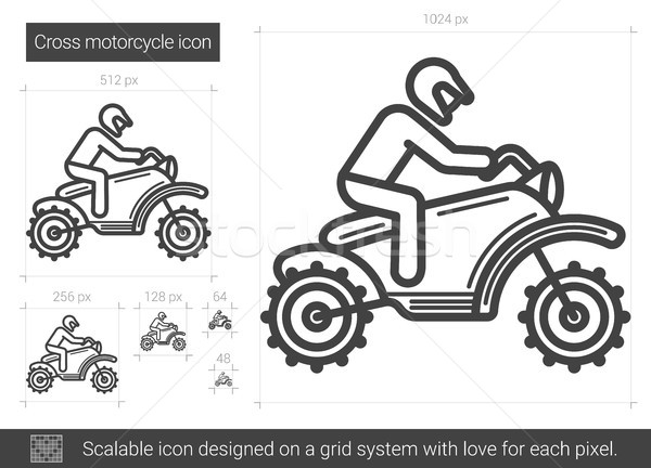 Cross motorcycle line icon. Stock photo © RAStudio