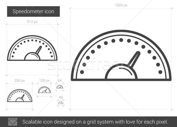 Snelheidsmeter lijn icon vector geïsoleerd witte Stockfoto © RAStudio