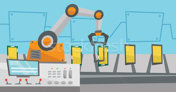 Automated robotic production line of smartphones. Stock photo © RAStudio