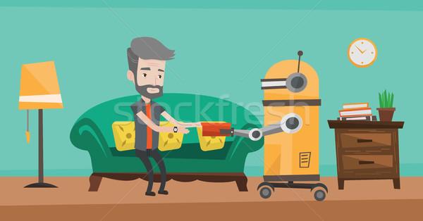 Robot asszisztens étel idős férfi kaukázusi Stock fotó © RAStudio