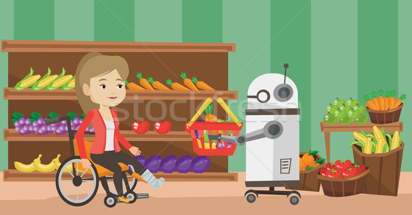 Robotachtige helper werken supermarkt kiezen Stockfoto © RAStudio