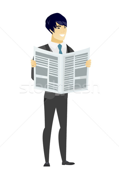 Groom reading newspaper vector illustration Stock photo © RAStudio