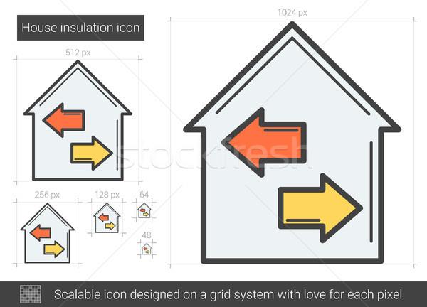 Ház szigetelés vonal ikon vektor izolált Stock fotó © RAStudio