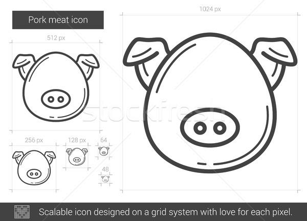 Disznóhús hús vonal ikon vektor izolált Stock fotó © RAStudio
