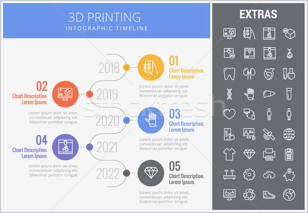 3D печати шаблон Элементы timeline Сток-фото © RAStudio