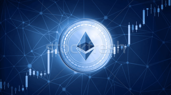 Ethereum coin on hud background with bull stock chart. Stock photo © RAStudio