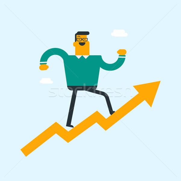 Caucasian businessman flying on arrow to success. Stock photo © RAStudio