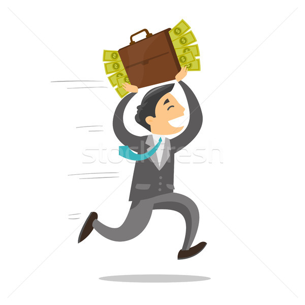 Businessman running with briefcase full of money. Stock photo © RAStudio