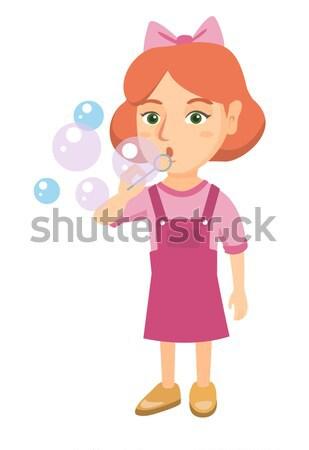 Stock fotó: Kicsi · kaukázusi · lány · fúj · szappanbuborékok · készít
