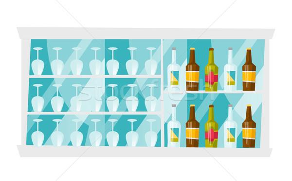 Shelves with bottles and glasses vector cartoon. Stock photo © RAStudio