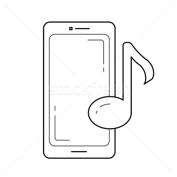 Muziekspeler app lijn icon vector geïsoleerd Stockfoto © RAStudio