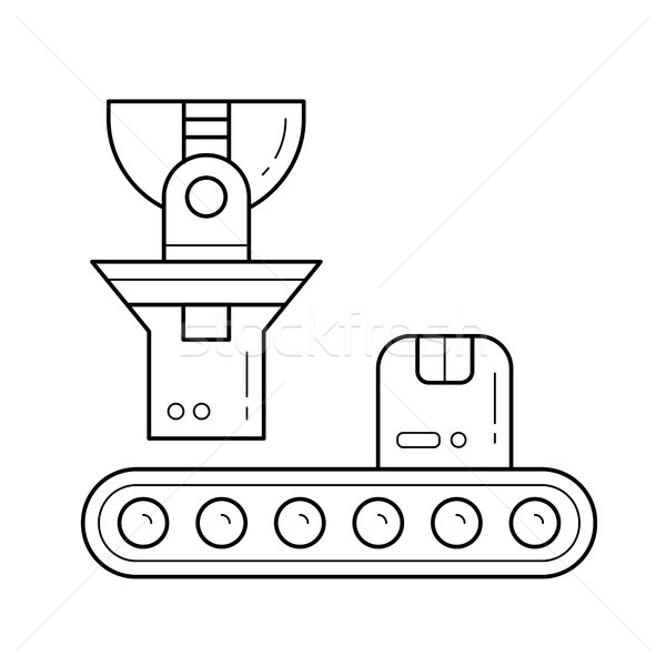 Factory conveyor loading parcel vector line icon. Stock photo © RAStudio