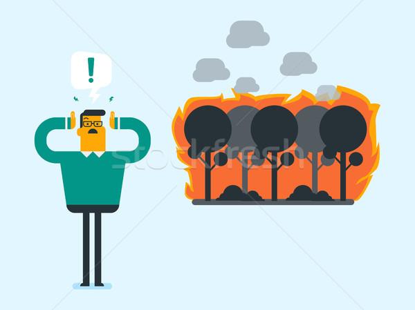 Człowiek stałego pożar lasu młodych Zdjęcia stock © RAStudio
