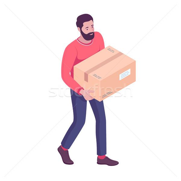Young caucasian white man carrying cardboard box. Stock photo © RAStudio