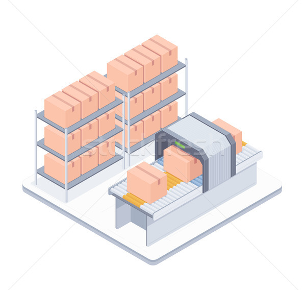Automated packaging conveyor belt isometric illustration Stock photo © RAStudio
