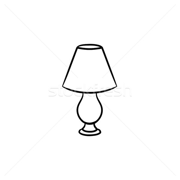 Table lamp hand drawn sketch icon. Stock photo © RAStudio