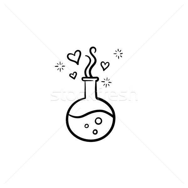 Flask with magic potion hand drawn sketch icon. Stock photo © RAStudio