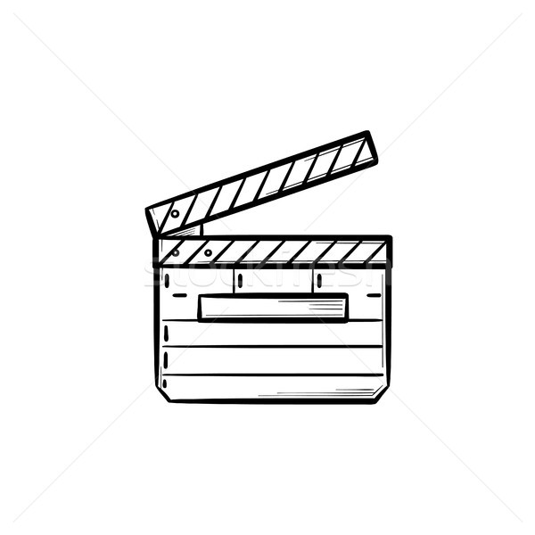 Movie clapboard hand drawn outline doodle icon. Stock photo © RAStudio