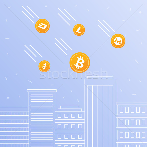 Cryptocurrency coins falling to the downtown skyscrapers. Stock photo © RAStudio