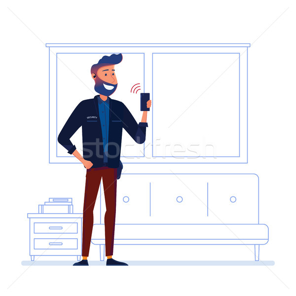 охранник портативный радио внутри здании Сток-фото © RAStudio