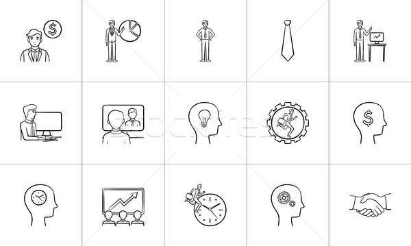 Business hand drawn sketch icon set. Stock photo © RAStudio