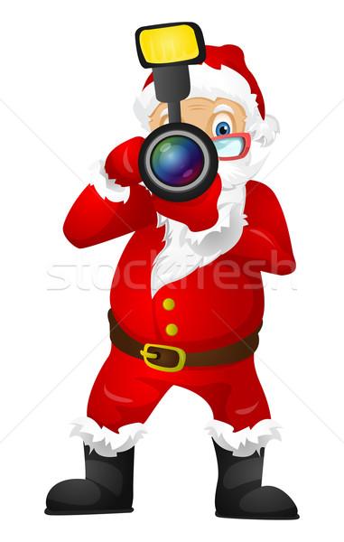 ストックフォト: サンタクロース · 孤立した · グレー · 勾配 · カメラマン