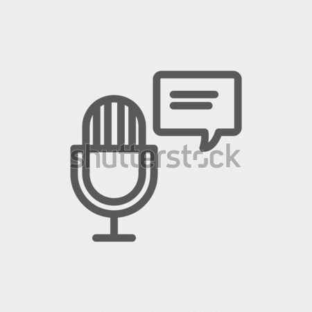 Mikrofon szövegbuborék vékony vonal ikon háló Stock fotó © RAStudio