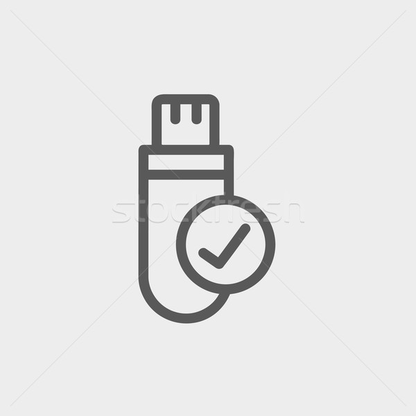 Usb flash drive dun lijn icon web Stockfoto © RAStudio