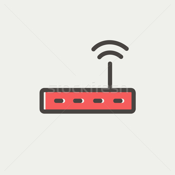 Wifi router modem dun lijn icon Stockfoto © RAStudio