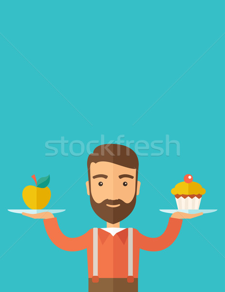 Man carries with his two hands cupcake and apple. Stock photo © RAStudio